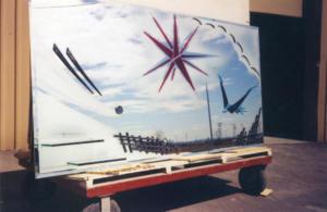 miroir décoratif avec jet de sable