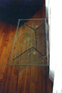 table en verre motif provencal