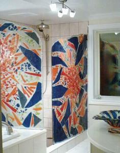 douche en verre coloré