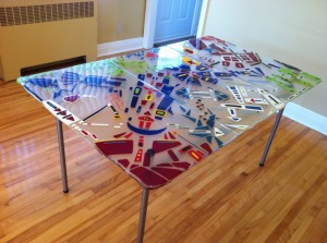 table en verre fusion