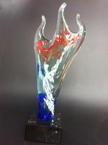 trophée tricorne bleu rouge